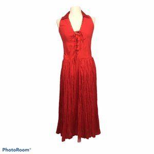 Newport News Red Sleeveless Broomstick Dress, 10